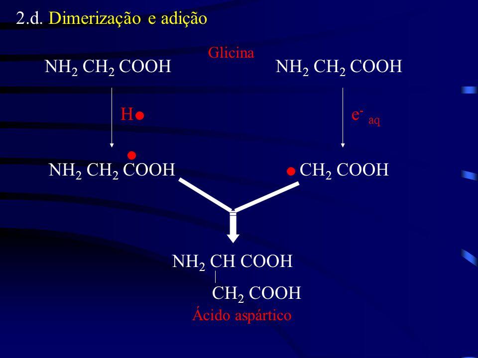 2.d. Dimerização e adição NH 2 CH 2 COOH CH 2 COOH He - aq Glicina NH 2 CH COOH CH 2 COOH Ácido aspártico