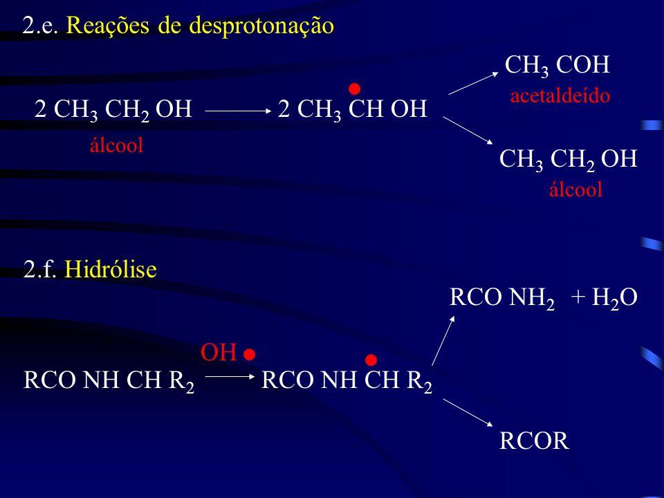 2.e. Reações de desprotonação 2 CH 3 CH 2 OH2 CH 3 CH OH CH 3 COH CH 3 CH 2 OH álcool acetaldeído 2.f. Hidrólise RCO NH CH R 2 RCOR RCO NH 2 + H 2 O O