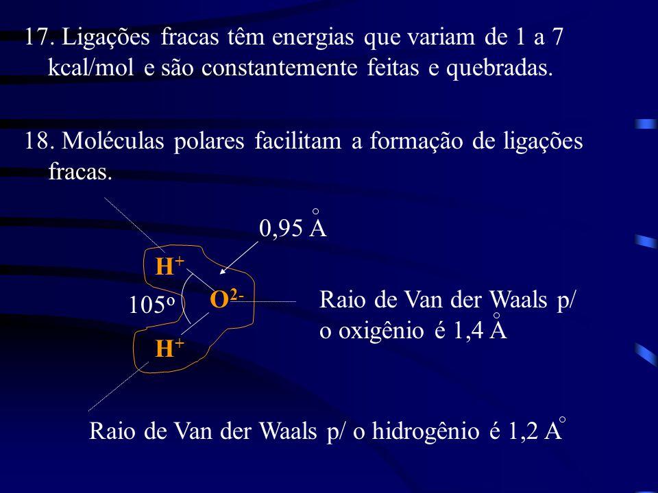17. Ligações fracas têm energias que variam de 1 a 7 kcal/mol e são constantemente feitas e quebradas. 18. Moléculas polares facilitam a formação de l
