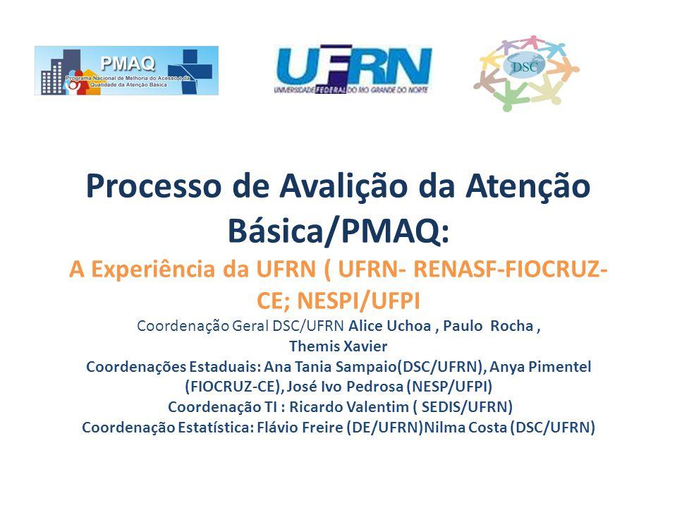 Processo de Avalição da Atenção Básica/PMAQ: A Experiência da UFRN ( UFRN- RENASF-FIOCRUZ- CE; NESPI/UFPI Coordenação Geral DSC/UFRN Alice Uchoa, Paul