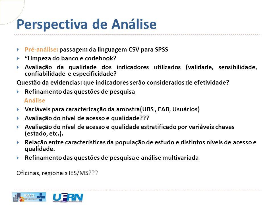 """Perspectiva de Análise  Pré-análise: passagem da linguagem CSV para SPSS  """"Limpeza do banco e codebook?  Avaliação da qualidade dos indicadores uti"""