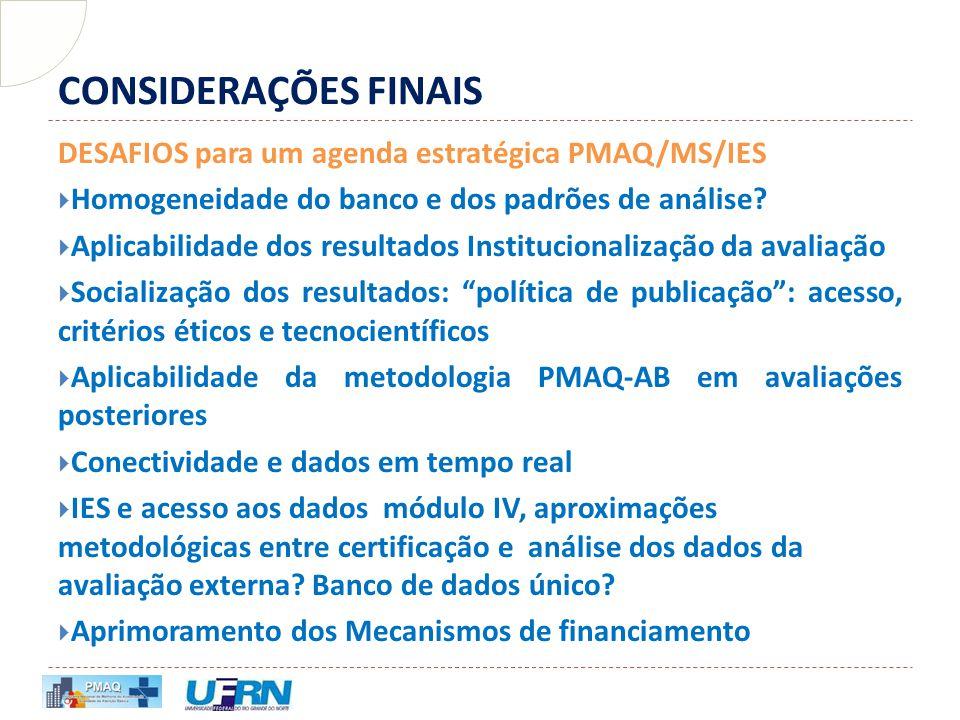CONSIDERAÇÕES FINAIS DESAFIOS para um agenda estratégica PMAQ/MS/IES  Homogeneidade do banco e dos padrões de análise?  Aplicabilidade dos resultado