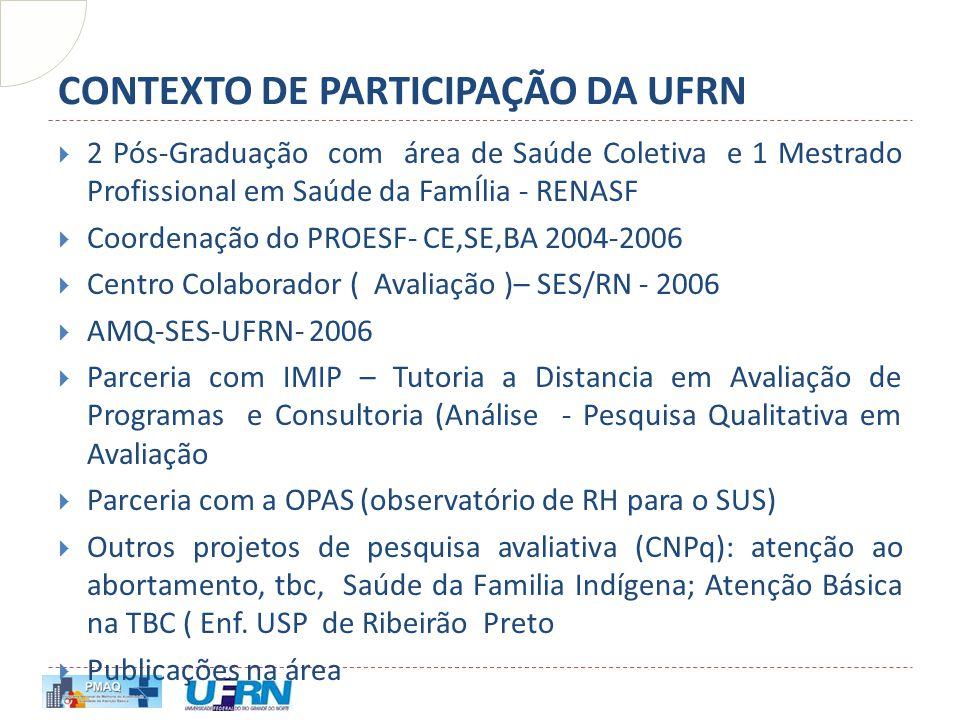 CONTEXTO DE PARTICIPAÇÃO DA UFRN  2 Pós-Graduação com área de Saúde Coletiva e 1 Mestrado Profissional em Saúde da FamÍlia - RENASF  Coordenação do