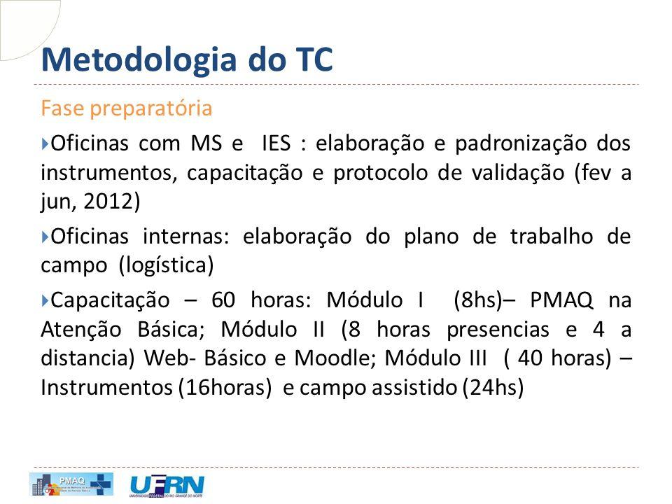 Metodologia do TC Fase preparatória  Oficinas com MS e IES : elaboração e padronização dos instrumentos, capacitação e protocolo de validação (fev a