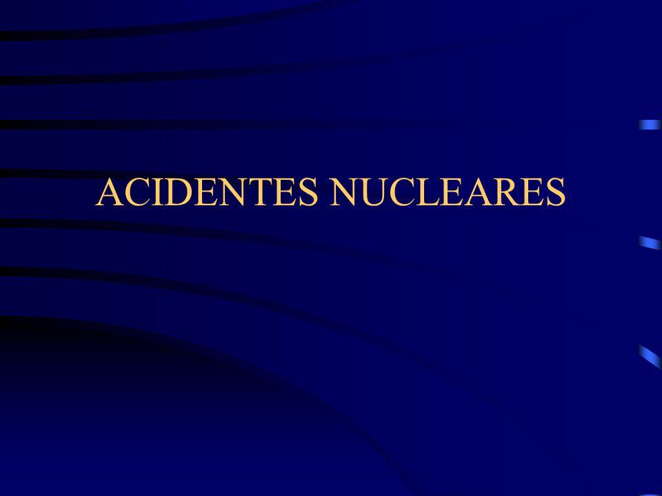 São acidentes que ocorrem em instalações nucleares Acidente Radiológico/ Radioativo/por Radiação É caracterizado por:  campos de intensa radiação não intencional  liberação não controlada de grandes quantidades de material radioativo  envolvendo exposição ou contaminação de seres humanos ou meio ambiente  causando sérios danos ou morte