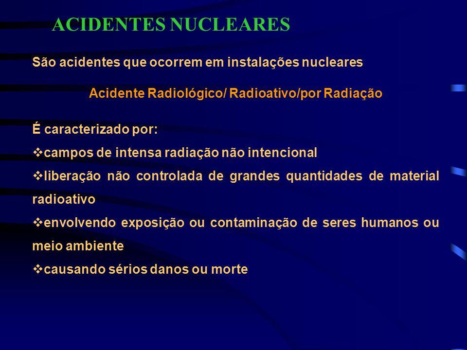 CLASSIFICAÇÃO DE ACIDENTES ENVOLVENDO SERES HUMANOS 1) IRRADIAÇÃO EXTERNA (RADIOEXPOSIÇÃO) corpo inteiro parcial do corpo localizada 2) CONTAMINAÇÃO (RADIOCONTAMINAÇÃO) externa (superfície) interna (inalação/ingestão/injeção/absorção de pele ou ferimentos) 3) COMBINADOS (MISTOS)