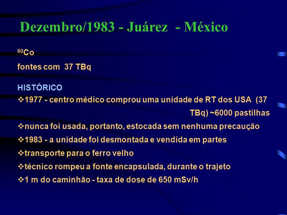 Dezembro/1983 - Juárez - México 60 Co fontes com 37 TBq HISTÓRICO v1977 - centro médico comprou uma unidade de RT dos USA (37 TBq) ~6000 pastilhas vnu
