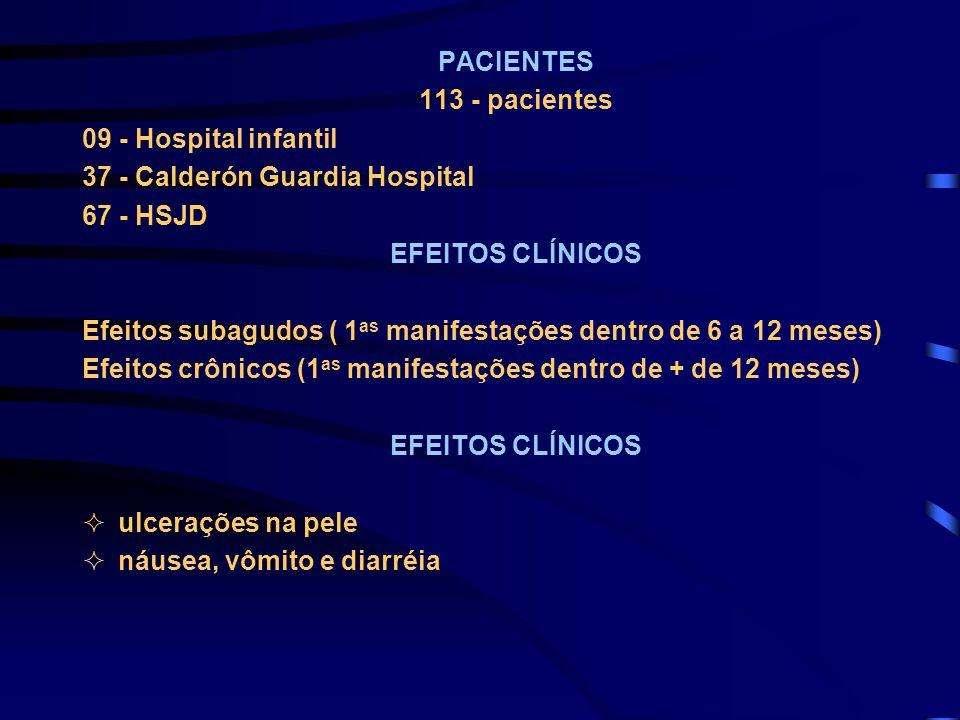 PACIENTES 113 - pacientes 09 - Hospital infantil 37 - Calderón Guardia Hospital 67 - HSJD EFEITOS CLÍNICOS Efeitos subagudos ( 1 as manifestações dent