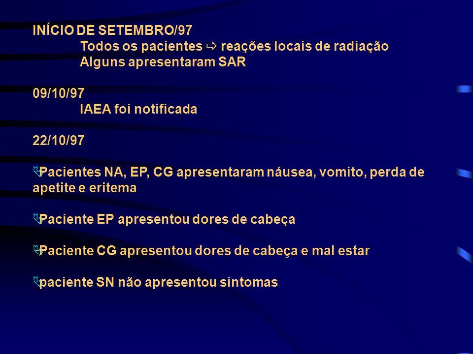 INÍCIO DE SETEMBRO/97 Todos os pacientes  reações locais de radiação Alguns apresentaram SAR 09/10/97 IAEA foi notificada 22/10/97  Pacientes NA, EP