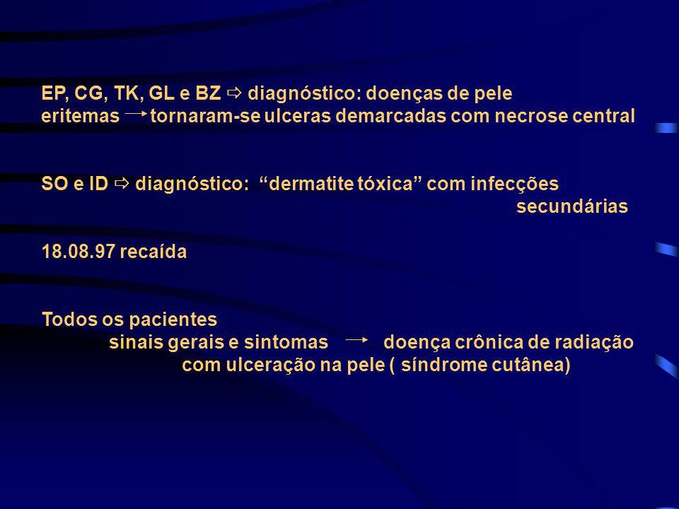 """EP, CG, TK, GL e BZ  diagnóstico: doenças de pele eritemas tornaram-se ulceras demarcadas com necrose central SO e ID  diagnóstico: """"dermatite tóxic"""