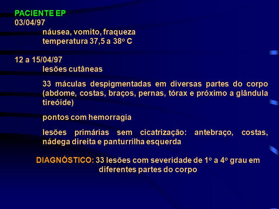 PACIENTE EP 03/04/97 náusea, vomito, fraqueza temperatura 37,5 a 38 o C 12 a 15/04/97 lesões cutâneas 33 máculas despigmentadas em diversas partes do