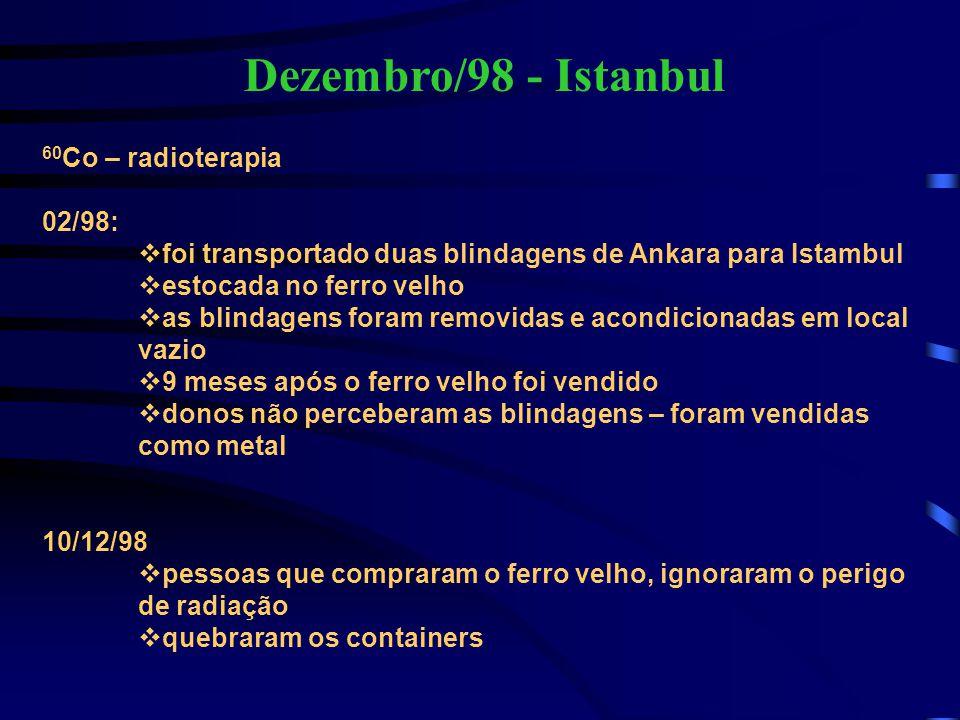 Dezembro/98 - Istanbul 60 Co – radioterapia 02/98:  foi transportado duas blindagens de Ankara para Istambul  estocada no ferro velho  as blindagen
