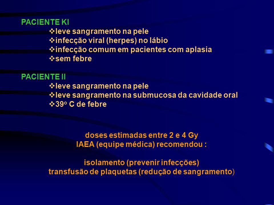 PACIENTE KI  leve sangramento na pele  infecção viral (herpes) no lábio  infecção comum em pacientes com aplasia  sem febre PACIENTE II  leve san