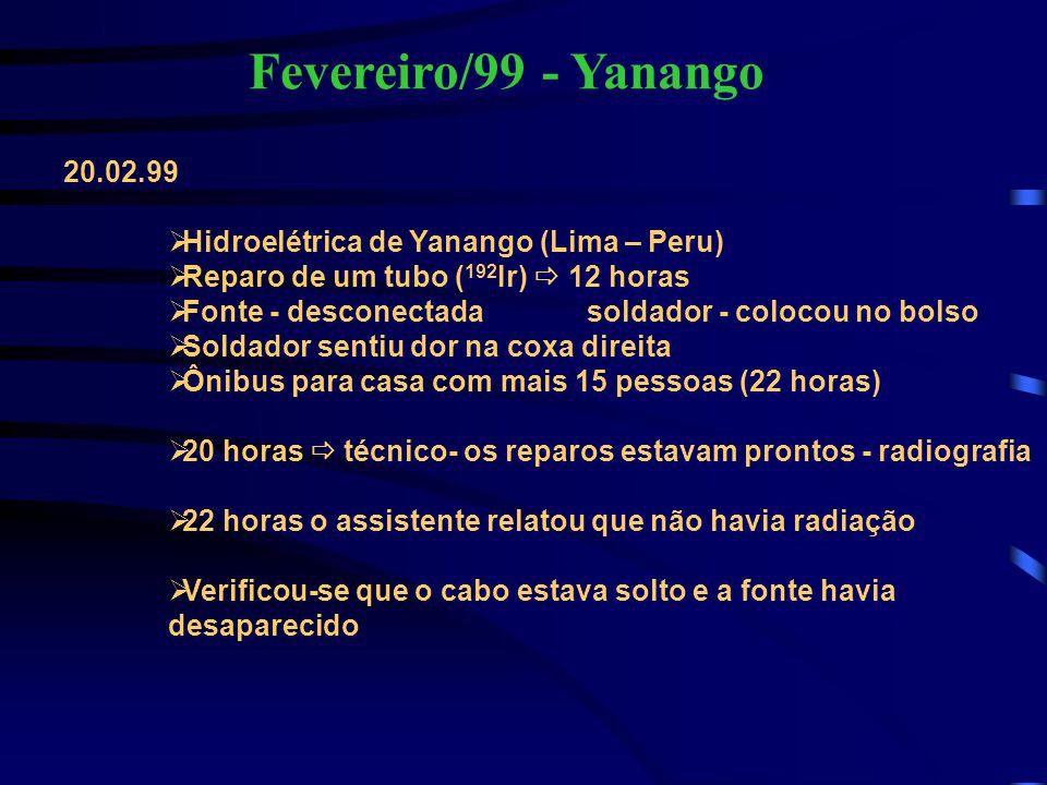 Fevereiro/99 - Yanango 20.02.99  Hidroelétrica de Yanango (Lima – Peru)  Reparo de um tubo ( 192 Ir)  12 horas  Fonte - desconectada soldador - co