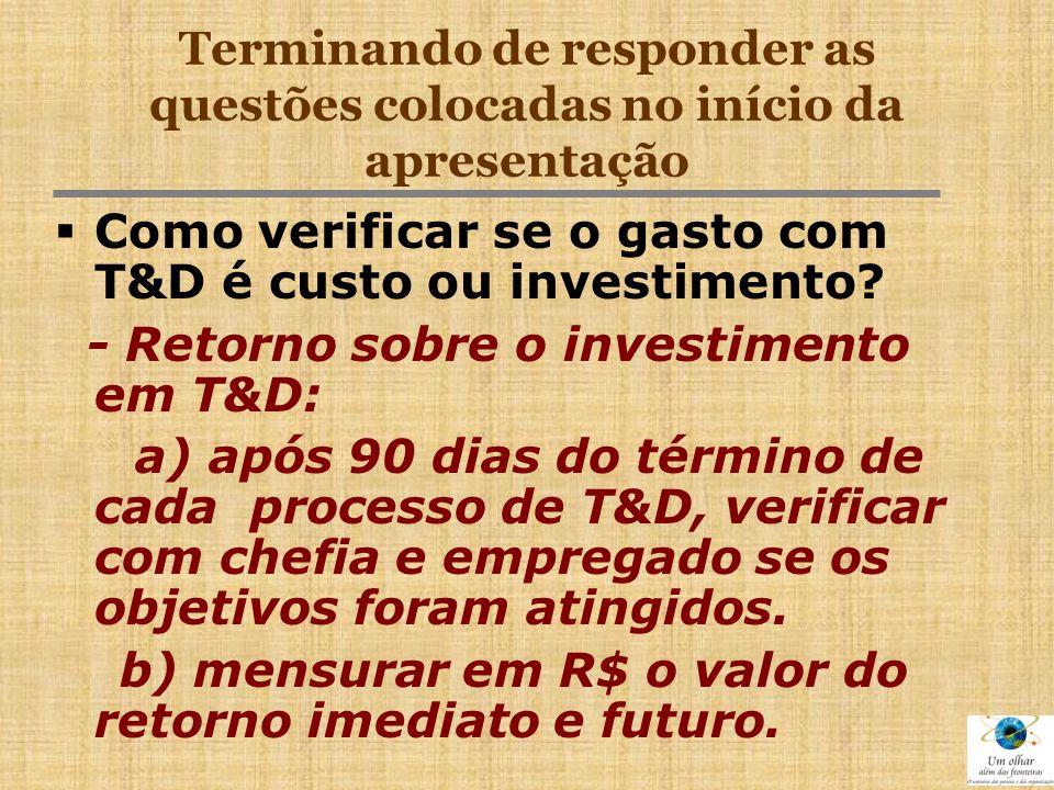 Terminando de responder as questões colocadas no início da apresentação  Como verificar se o gasto com T&D é custo ou investimento? - Retorno sobre o