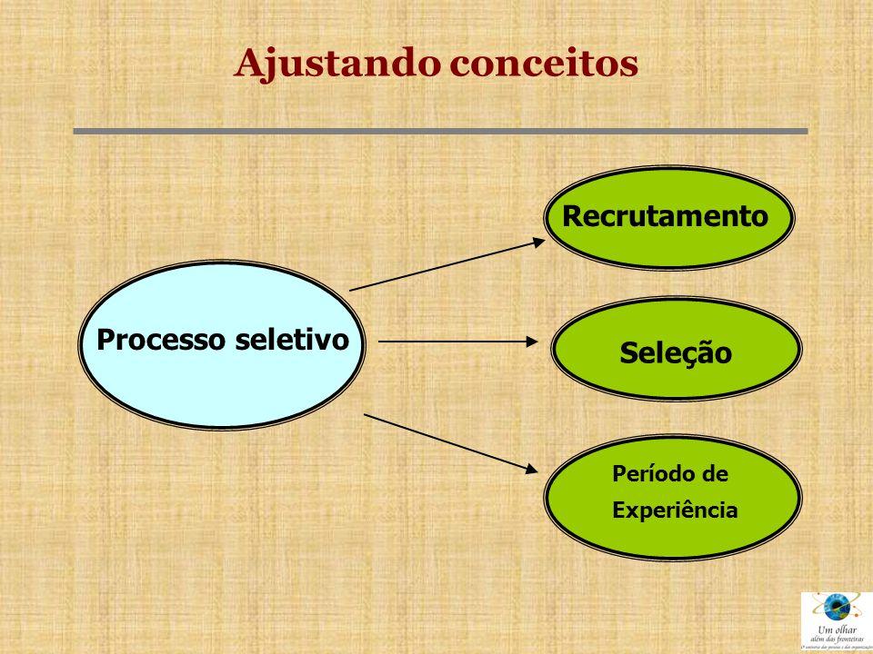 CONCLUSÕES  A porta de entrada de uma pessoa para a organização se dá através dos processos de RECRUTAMENTO E SELEÇÃO.