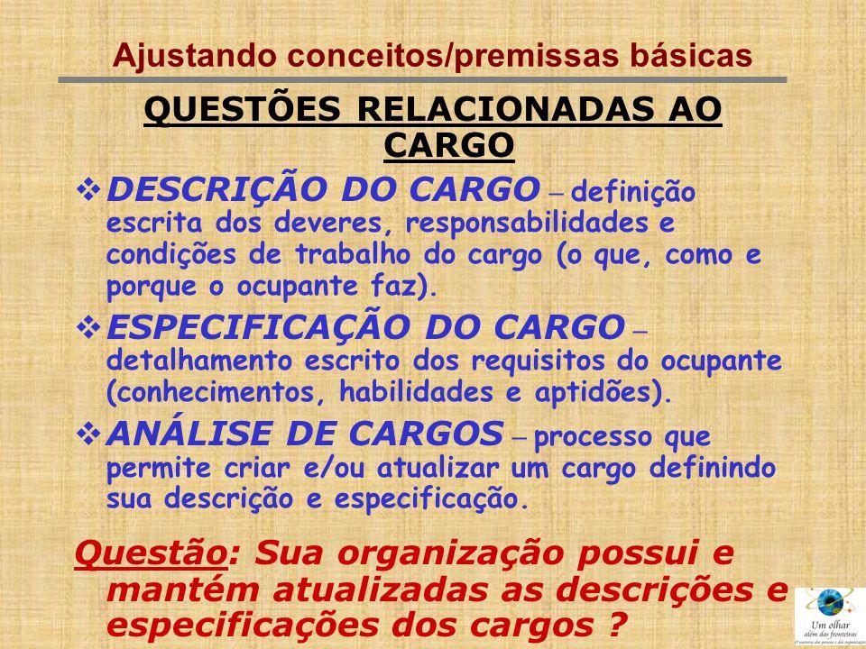 Ajustando conceitos/premissas básicas QUESTÕES RELACIONADAS AO CARGO  DESCRIÇÃO DO CARGO – definição escrita dos deveres, responsabilidades e condiçõ