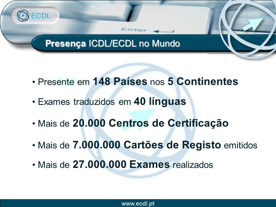 www.ecdl.pt Presença ICDL/ECDL no Mundo Presente em 148 Países nos 5 Continentes Exames traduzidos em 40 línguas Mais de 20.000 Centros de Certificaçã