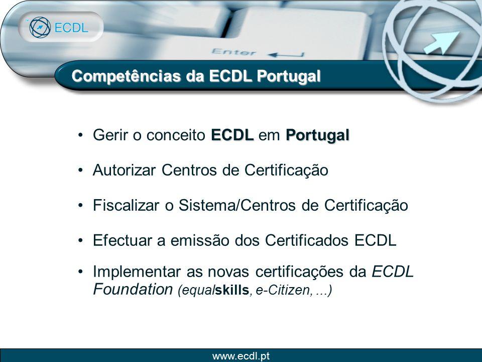 www.ecdl.pt Competências da ECDL Portugal Autorizar Centros de Certificação Efectuar a emissão dos Certificados ECDL Implementar as novas certificaçõe