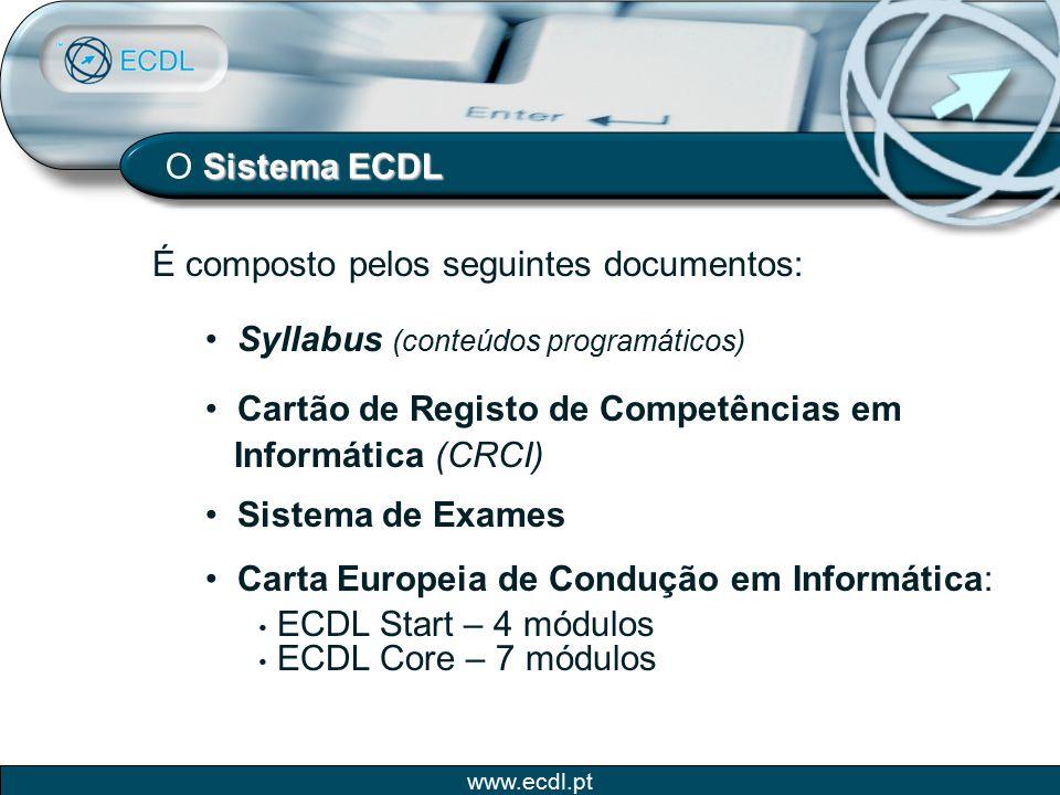 www.ecdl.pt Sistema ECDL O Sistema ECDL É composto pelos seguintes documentos: Syllabus (conteúdos programáticos) Cartão de Registo de Competências em