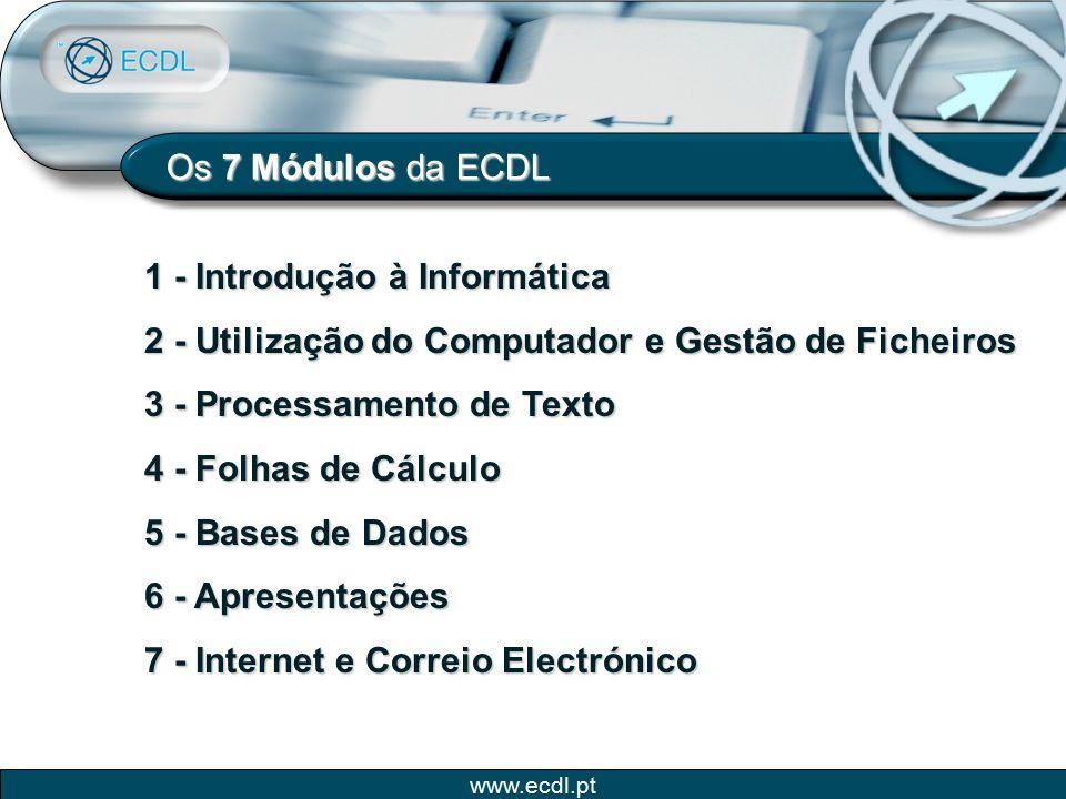 www.ecdl.pt Os 7 Módulos da ECDL 1 - Introdução à Informática 2 - Utilização do Computador e Gestão de Ficheiros 3 - Processamento de Texto 4 - Folhas