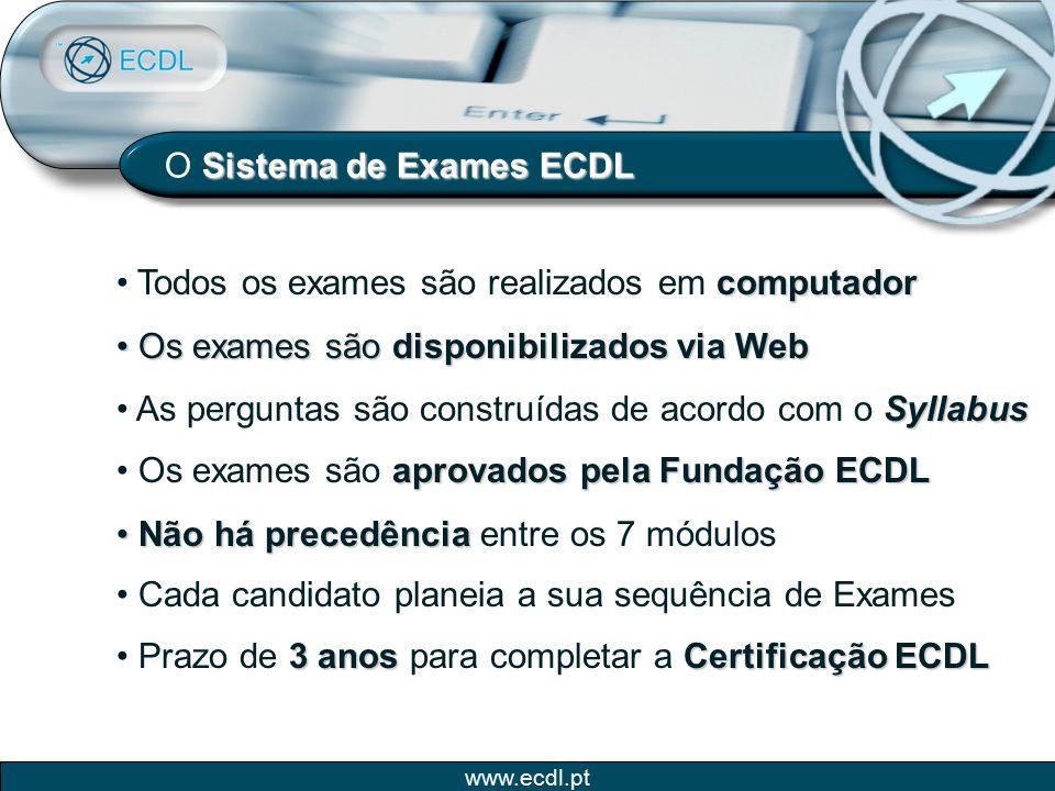 www.ecdl.pt Sistema de Exames ECDL O Sistema de Exames ECDL computador Todos os exames são realizados em computador Os exames são disponibilizados via