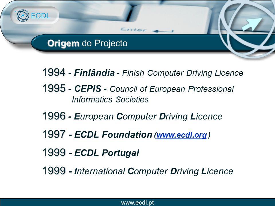 www.ecdl.pt Comissão Europeia Certificação lançada com o apoio da Comissão Europeia.