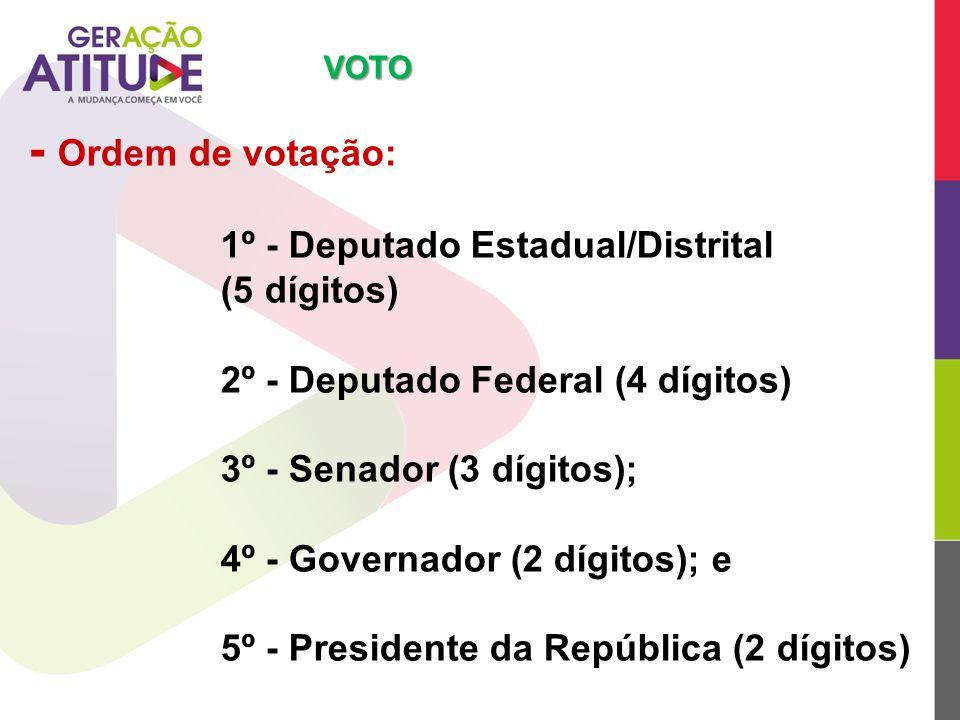 - Ordem de votação: 1º - Deputado Estadual/Distrital (5 dígitos) 2º - Deputado Federal (4 dígitos) 3º - Senador (3 dígitos); 4º - Governador (2 dígito