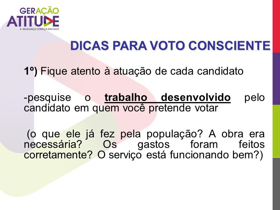 1º) Fique atento à atuação de cada candidato -pesquise o trabalho desenvolvido pelo candidato em quem você pretende votar (o que ele já fez pela popul
