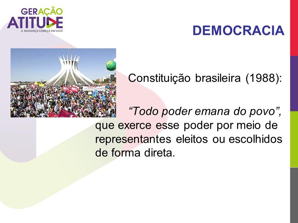 """DEMOCRACIA Constituição brasileira (1988): """"Todo poder emana do povo"""", que exerce esse poder por meio de representantes eleitos ou escolhidos de forma"""
