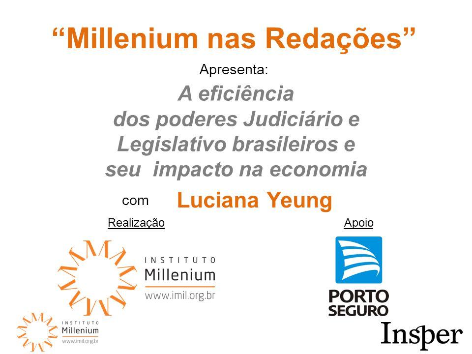RealizaçãoApoio Millenium nas Redações A eficiência dos poderes Judiciário e Legislativo brasileiros e seu impacto na economia com Luciana Yeung Apresenta: