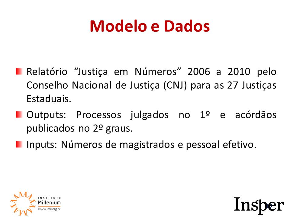 Relatório Justiça em Números 2006 a 2010 pelo Conselho Nacional de Justiça (CNJ) para as 27 Justiças Estaduais.