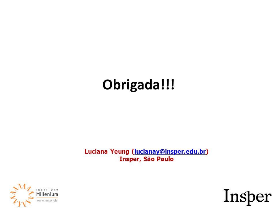 Obrigada!!! Luciana Yeung (lucianay@insper.edu.br)lucianay@insper.edu.br Insper, São Paulo