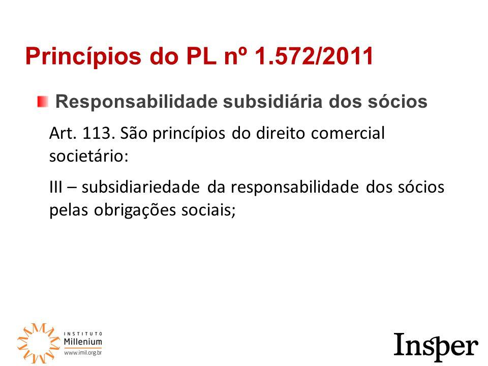 Responsabilidade subsidiária dos sócios Art. 113.