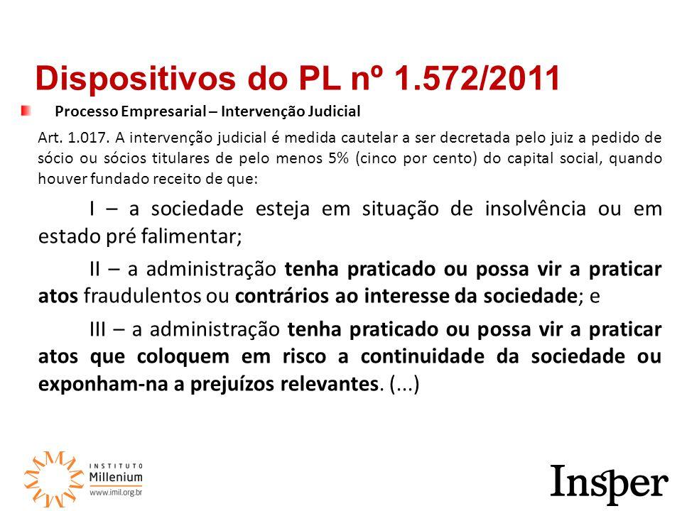 Processo Empresarial – Intervenção Judicial Art.1.017.