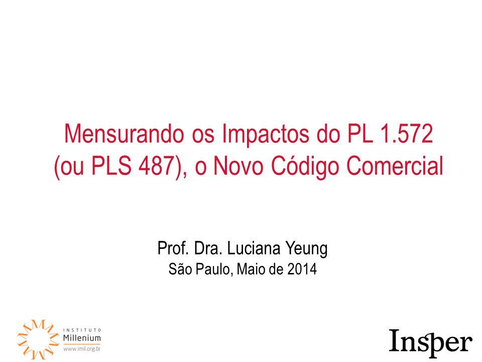 Prof. Dra. Luciana Yeung São Paulo, Maio de 2014 Mensurando os Impactos do PL 1.572 (ou PLS 487), o Novo Código Comercial