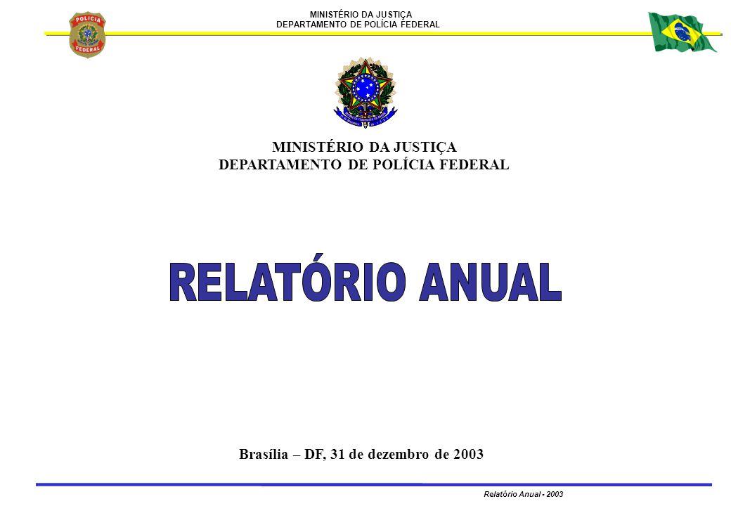 MINISTÉRIO DA JUSTIÇA DEPARTAMENTO DE POLÍCIA FEDERAL Relatório Anual - 2003 12 EVENTOS DE PARTICIPAÇÃO DO DIRETOR-GERAL 1 – GABINETE – GABORDEMEVENTO 8 Integrar comitiva do Senhor Ministro da Justiça para desenvolver, as seguintes atividades: - Acordo de Cooperação na área policial entre Brasil e Colômbia, em Tabatinga/AM; - Inauguração de Posto de Controle de Fronteira em Melo Franco/AM; - Visita ao Posto Avançado da Polícia Federal em São Gabriel da Cachoeira/AM; - Reunião com o Governador e com o Secretário de Segurança Pública do Rio de Janeiro; e - Reunião com o Diretor da Agência Nacional de Petróleo.