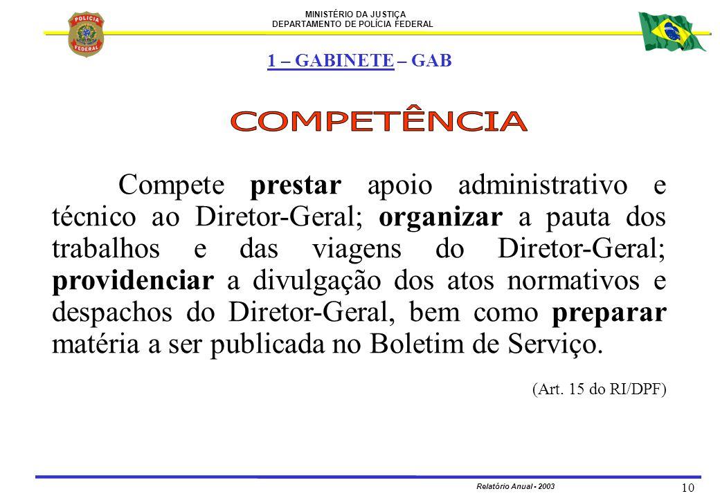 MINISTÉRIO DA JUSTIÇA DEPARTAMENTO DE POLÍCIA FEDERAL Relatório Anual - 2003 10 Compete prestar apoio administrativo e técnico ao Diretor-Geral; organ