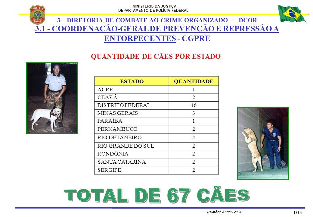 MINISTÉRIO DA JUSTIÇA DEPARTAMENTO DE POLÍCIA FEDERAL Relatório Anual - 2003 105 QUANTIDADE DE CÃES POR ESTADO ESTADOQUANTIDADE ACRE1 CEARÁ2 DISTRITO
