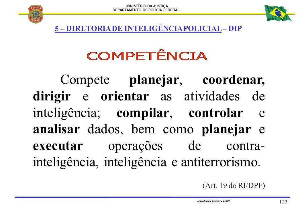 MINISTÉRIO DA JUSTIÇA DEPARTAMENTO DE POLÍCIA FEDERAL Relatório Anual - 2003 123 5 – DIRETORIA DE INTELIGÊNCIA POLICIAL – DIP Compete planejar, coorde