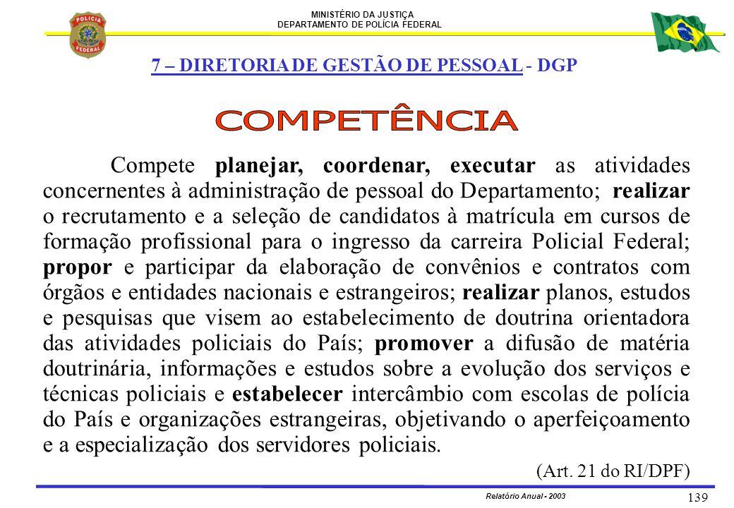 MINISTÉRIO DA JUSTIÇA DEPARTAMENTO DE POLÍCIA FEDERAL Relatório Anual - 2003 139 7 – DIRETORIA DE GESTÃO DE PESSOAL - DGP Compete planejar, coordenar,