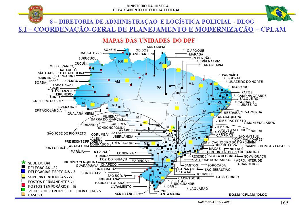 MINISTÉRIO DA JUSTIÇA DEPARTAMENTO DE POLÍCIA FEDERAL Relatório Anual - 2003 165 MAPAS DAS UNIDADES DO DPF 8 – DIRETORIA DE ADMINISTRAÇÃO E LOGÍSTICA