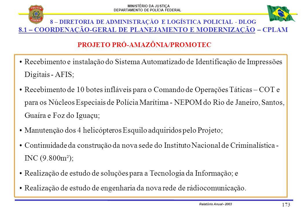 MINISTÉRIO DA JUSTIÇA DEPARTAMENTO DE POLÍCIA FEDERAL Relatório Anual - 2003 173 PROJETO PRÓ-AMAZÔNIA/PROMOTEC Recebimento e instalação do Sistema Aut