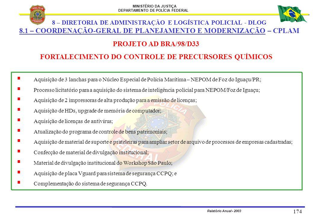 MINISTÉRIO DA JUSTIÇA DEPARTAMENTO DE POLÍCIA FEDERAL Relatório Anual - 2003 174  Aquisição de 3 lanchas para o Núcleo Especial de Polícia Marítima –