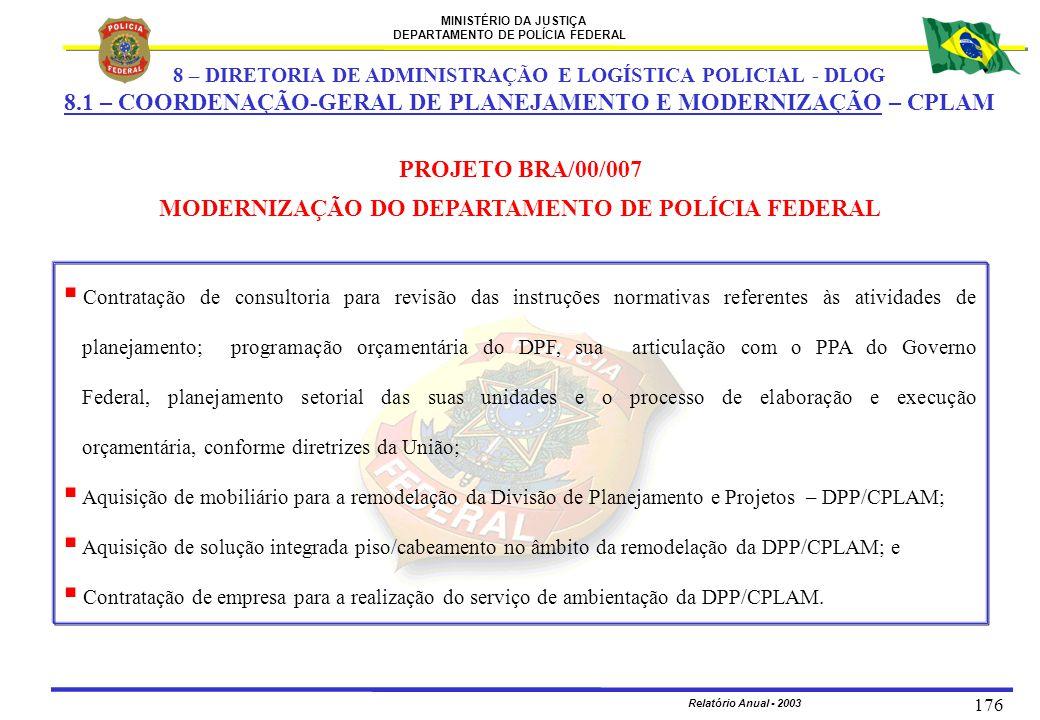 MINISTÉRIO DA JUSTIÇA DEPARTAMENTO DE POLÍCIA FEDERAL Relatório Anual - 2003 176 PROJETO BRA/00/007 MODERNIZAÇÃO DO DEPARTAMENTO DE POLÍCIA FEDERAL 