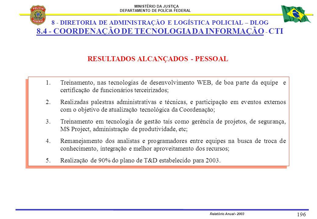 MINISTÉRIO DA JUSTIÇA DEPARTAMENTO DE POLÍCIA FEDERAL Relatório Anual - 2003 196 RESULTADOS ALCANÇADOS - PESSOAL 1.Treinamento, nas tecnologias de des