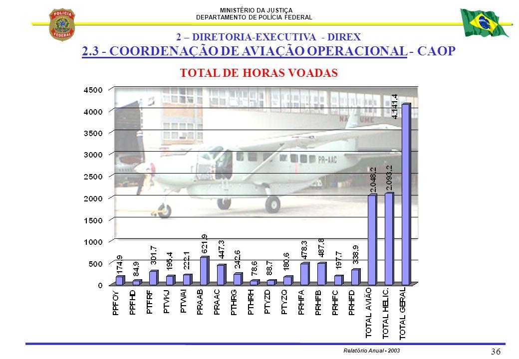 MINISTÉRIO DA JUSTIÇA DEPARTAMENTO DE POLÍCIA FEDERAL Relatório Anual - 2003 36 TOTAL DE HORAS VOADAS 2 – DIRETORIA-EXECUTIVA - DIREX 2.3 - COORDENAÇÃ