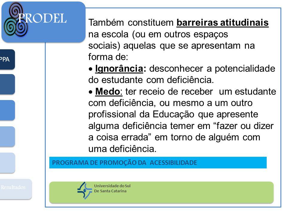 PPA Resultados PRODEL Universidade do Sul De Santa Catarina PROGRAMA DE PROMOÇÃO DA ACESSIBILIDADE Também constituem barreiras atitudinais na escola (ou em outros espaços sociais) aquelas que se apresentam na forma de:  Ignorância: desconhecer a potencialidade do estudante com deficiência.