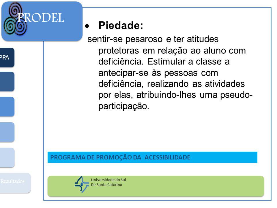 PPA Resultados PRODEL Universidade do Sul De Santa Catarina PROGRAMA DE PROMOÇÃO DA ACESSIBILIDADE  Piedade: sentir-se pesaroso e ter atitudes protet