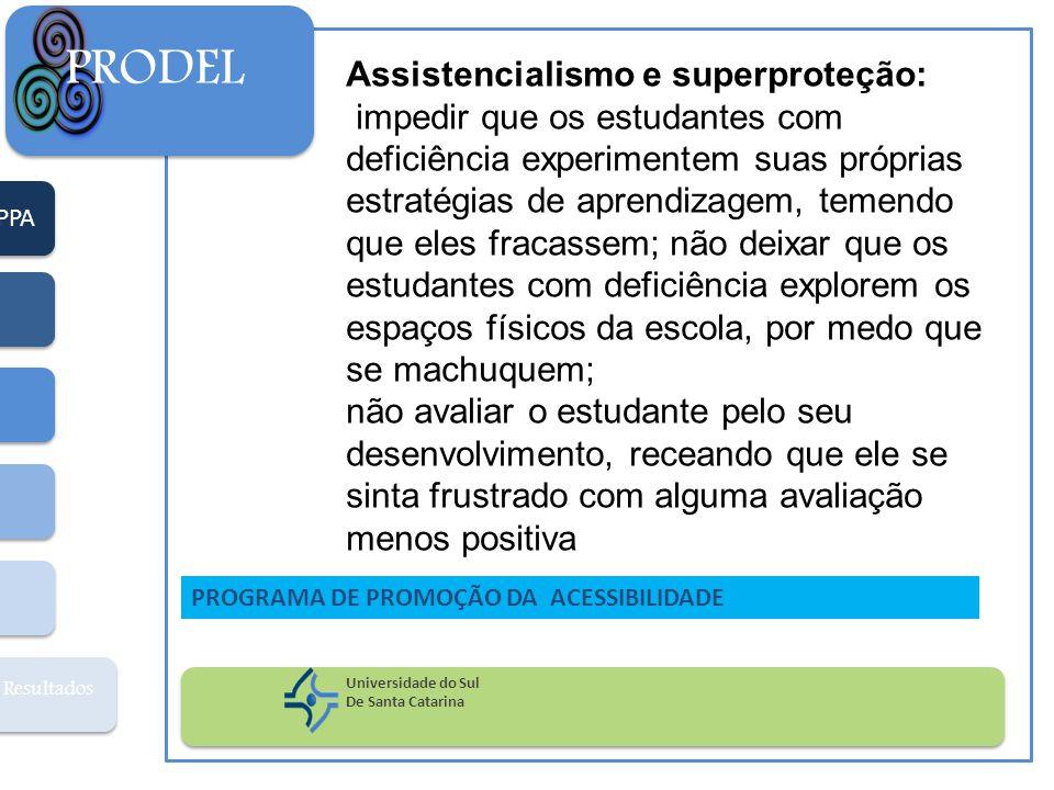 PPA Resultados PRODEL Universidade do Sul De Santa Catarina PROGRAMA DE PROMOÇÃO DA ACESSIBILIDADE Assistencialismo e superproteção: impedir que os es